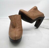 Lucky Brand Women's Clogs Platform Brown Leather Heels Size 10