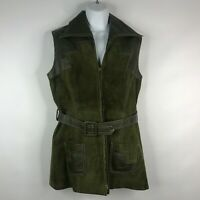 Vtg 70s Shayne Olive Green Suede Leather Belted Zip Front Vest Mini Dress Sz 12