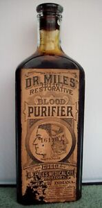 Labeled Quack Medicine Bottle, Dr. Miles Restorative Blood Purifier