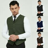 Mens Lapel Waistcoat Vest Retro Tweed Herringbone Slim Fit Sleeveless Jacket