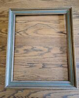 MID-CENTURY MODERN VTG GREEN GOLD WOOD PICTURE FRAME 20X16 PAINTING ANTIQUE