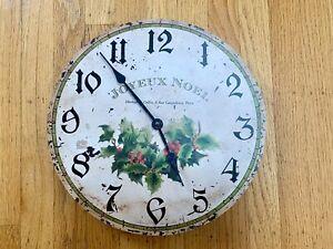 Timeworks Joyeux Noel Christmas Clock Rustic Farmhouse French Country Decor Art