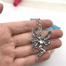 Angel Fairy Necklace Charms Jewelry Tibet silver Pendant Chain Necklace