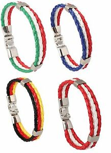 BRAIDED LEATHER FLAG SPORT WRISTBAND STRAP BRACELET ROPE WHITE RED BLUE A96-99