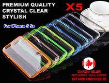 5x Case Crystal Clear Thin Transparent TPU + PC Back Cover for Apple iPhone 5 5s