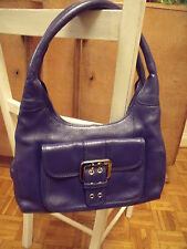 BLUE GENUINE LEATHER HAND BAG by SASHA BEA - 4 COMPARTMENTS - excellent
