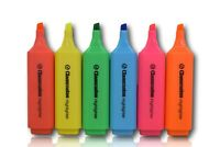 Set of Quality Fluorescent Highlighter Marker  Pens 6 Assorted Colour Pack