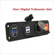 New Digital Voltmeter 4in1 Cigarette Lighter Socket Rocker Switch Dual USB Power