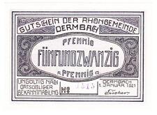 Dermbach 25 Pf. 01.01.1921 ohne Wz. & Serie Grab. 264.3 a Erh. I