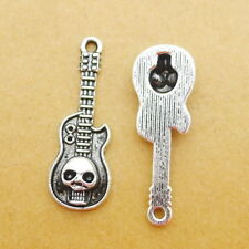 10pcs Tibetan Silver Charms Guitar And Skull Bead Pendant DIY Jewelry 11*32mm