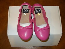 DOLCE&GABBANA JUNIOR PINK LEATHER PUMPS ( BALLERINA SLEEPERS) SIZE 26