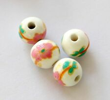 15Pcs Ceramics Porcelain Pink Flower Beads Finding--Jewelry Beads--10mm
