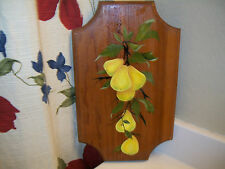 Shabby Cottage Yellow Pear Kitchen Wood Plaque Kitsch Country Folk Americana Art