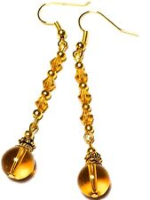 a Pair of Long Amber Coloured Earrings Gold Hook Crystal Glass Bead Drop Dangle