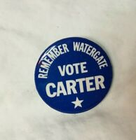 "* Presidential Political Pinback Button JIMMY CARTER 1 3/4"" REMEMBER WATERGATE"