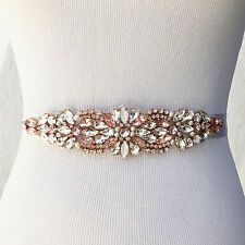 Blossom Blush and Clear Rhinestone Pearls Opals Crystal Diamante Bridal Sash