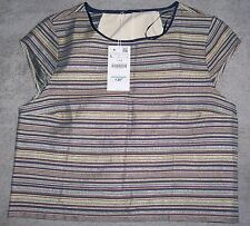 Zara W&B Jacquard Pattern Top Blue Green striped Size L Brand New with tags BNWT