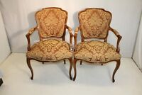 Beautiful Pair of French Louis XV Fruit Wood Fauteuils Chairs, New Upholstery