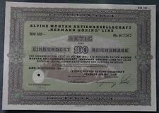 """Alpine Montan Aktiengesellschaft """"Hermann Göring"""" Linz 1939 100 RM"""