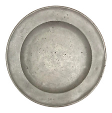 18th Century Antique English Handcrafted Pewter Charger Tray Signed Collectable