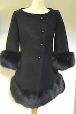 BLACK FOX FUR HEM & SLEEVE BOUCLE JACKET BESPOKE FULLY LINED WORN ONCE   8-10