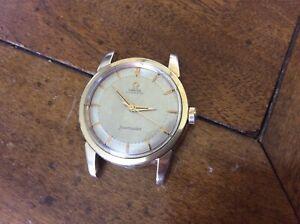 "Vintage 1954 Omega Seamaster 2846_Gold Bezel Ring_ Gold Cap Case_c.501 =""as is"""