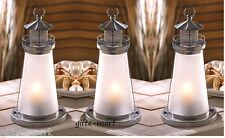 "10 silver white 10"" tall Candle holder lighthouse lamp wedding table centerpiece"