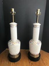 A Pair of Vintage Ceramic Table Lamp, Basket Weave Design, Painted Pink Floral