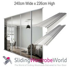 4 Mirror Sliding Wardrobe Doors, Tracks, White Frame, Stanley Design