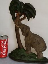 Large vintage & authentic cast iron Elephant In Palm Tree Door Stop,  Orig paint