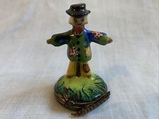 Peint Main Limoges Scarecrow Trinket Box