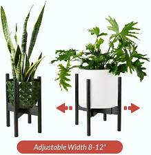 2PACK Natural Bamboo Adjustable Plant Stand. Mid Century Flower Pot Holder
