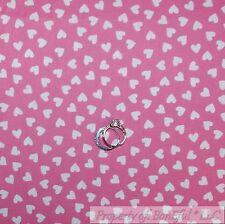 BonEful Fabric Cotton Quilt Pink White Small Little Heart Girl Princess 99 SCRAP