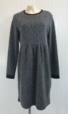 Cato Dress Size 14 Tweed Boucle Long Sleeve Black White Exposed Zip Back B54