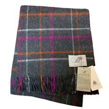 Bronte By Moon Windowpane Charcoal Blanket Check Throw Pure Merino Wool  Luxury