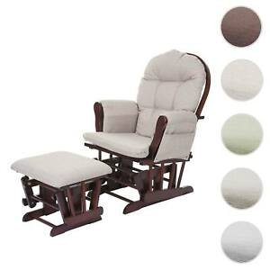 Relaxsessel HWC-C76, Schaukelstuhl Stillstuhl Schwingsessel Hocker, Stoff/Textil