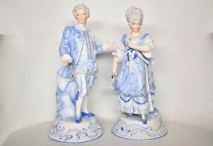 Antique German French Pair Man & Woman Bisque Porcelain Figures KPM Vion & Baury