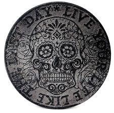 100% Echt Vintage Leder Untersetzer Live your Life Sugar Skull 2er 11cm