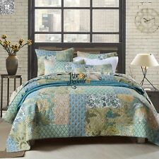 Floral Cotton Patchwork Bedspread Quilted Coverlet Set Queen/King Size Bed New