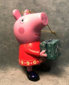 """Peppa Pig Christmas Tree Ornament 2003 Red Dress Green Gift Never Used 3.5"""""""