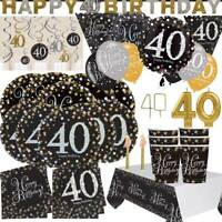 AGE 40 - Happy 40th Birthday BLACK & GOLD SPARKLES Party Range Banners Balloons