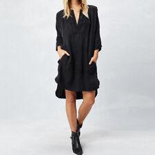 ZANZEA Chic Ladies Long Sleeve V Neck Shirt Dress Asymmetrical Split Mini Dress