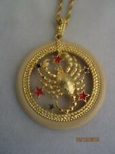 "FUNKY NOS SCORP[O LUCITE GOLD CRAB, ENAMELED STARS PENDANT & 22"" CHAIN NECKLACE"
