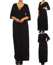 LD12 Womens Black Size 14/16 Short Sleeves Maxi Bodycon Stretch Slim Dress Plus