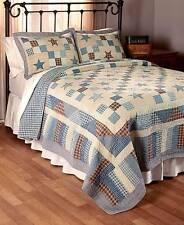 NOSTALGIA BLUE STAR King QUILT SET : COUNTRY CHECKS PATCH  RED PLAID CABIN