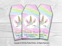 6 x Unicorn Thank You Tags, Favour Tags, Thank You Labels