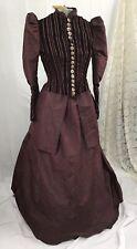 2-Pc Victorian Bustle Dress Boned Bodice Maroon Taffata Velvet 1880 Excellent