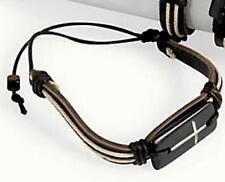 Leather Cross Bracelet Hemp Rope Wood Bead Shamballa Black Adjustable USA Seller