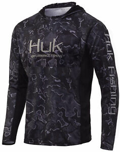 Huk Men's Icon X Camo Current Hannibal Black XX-Large Long Sleeve Hoodie Shirt