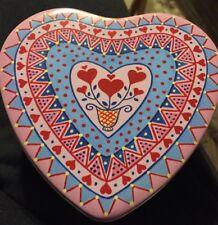 Tin HEART Trinket BOX Candy, Jewelry, Toys etc. Folk Art Heart Print.